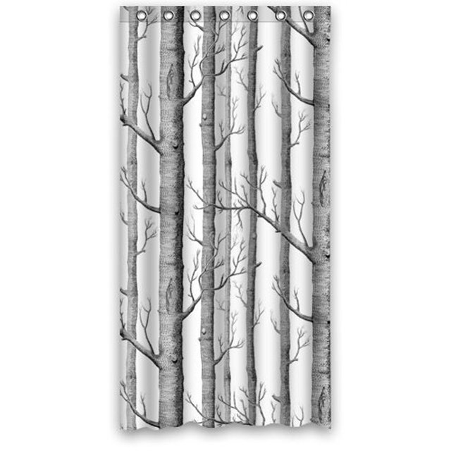 Memory Home White Birch Trees Bathroom Custom Polyester Waterproof Fabric Shower Curtain Rings Included