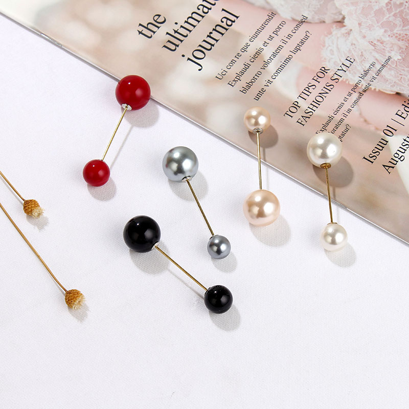 19 High Quality Vintage Gold Brooch Pins Double Head Simulation Pearl Large Big Brooches For Women Wedding Jewelry Accessories 17