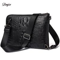 DANJUE Men Messenger Bag Genuine Leather Daily Clutches Bag Male Crocodile Grain Handy Bag Leisure Black