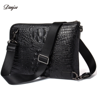 DANJUE Men Messenger Bag Genuine Leather Daily Clutches Bag Male Crocodile Grain Handy Bag Leisure Black