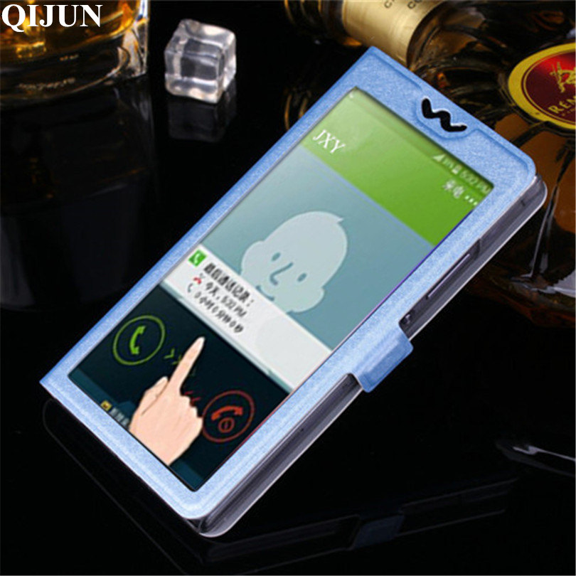 Luxury Transparent Flip Cover With Window Case For WIKO Rainbow 5 0 Rainbow Jam 3G rainbow Lite 4G 5 0 inch Phone Bag Case in Flip Cases from Cellphones Telecommunications