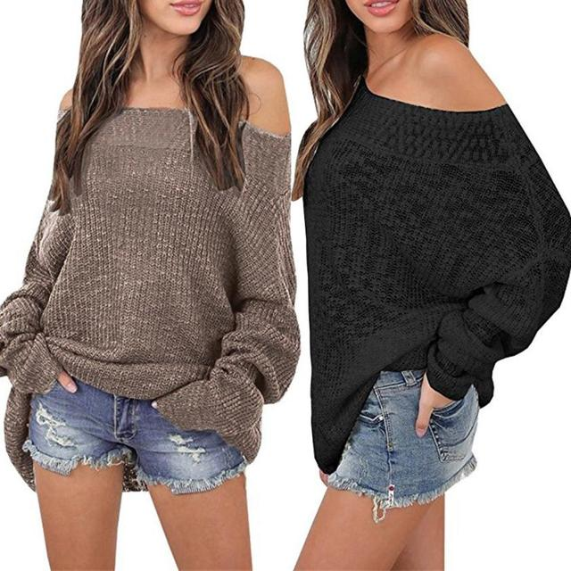 e6d1c4d6948 KANCOOLD 2018 Fashion Gobought Women s Off Shoulder Long Sleeve Loose Fit  Knit Sweater Tops Pullover 18juiy11
