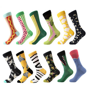 Image 3 - MYORED 12pairs/Lot Casual Men Socks Plaid Colorful fruit cartoon animal dot stripes happy Business Party Dress Cotton Socks Man