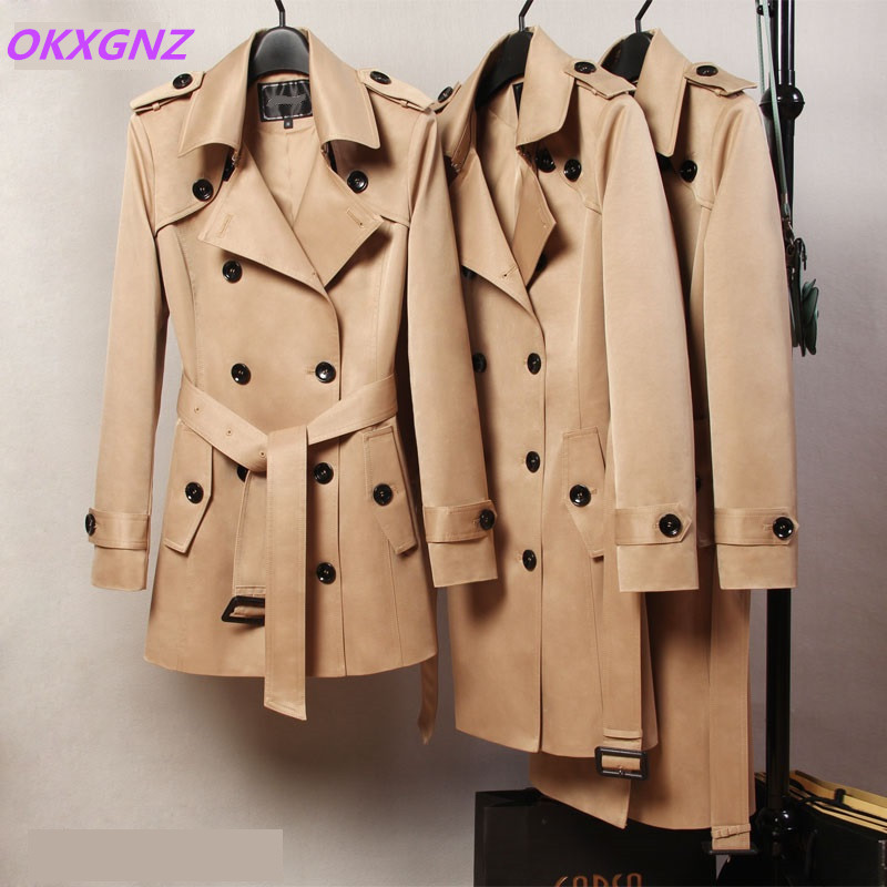 Trench Coat Women 2018 Spring Autumn Double-breasted Windbreaker High Quality Plus Size Coat Belt Slim Female Casual Tops 2095