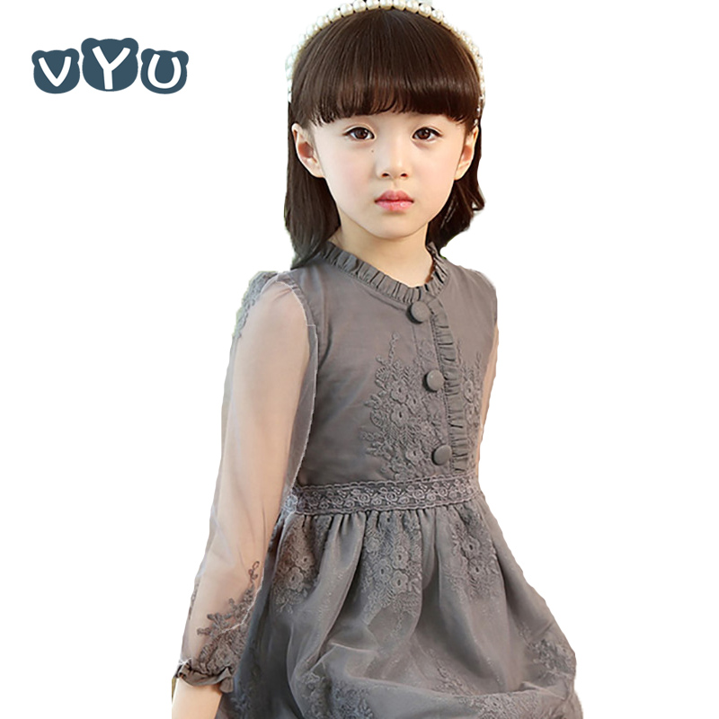 VYU Spring Summer Girl Grey Lace Princess Dress Kids Children Clothing Party Wedding Dress Lace Dress For Age 2-14Y maternity clothing spring twinset lace fairy princess wedding one piece dress white embroidery dress full dress summer