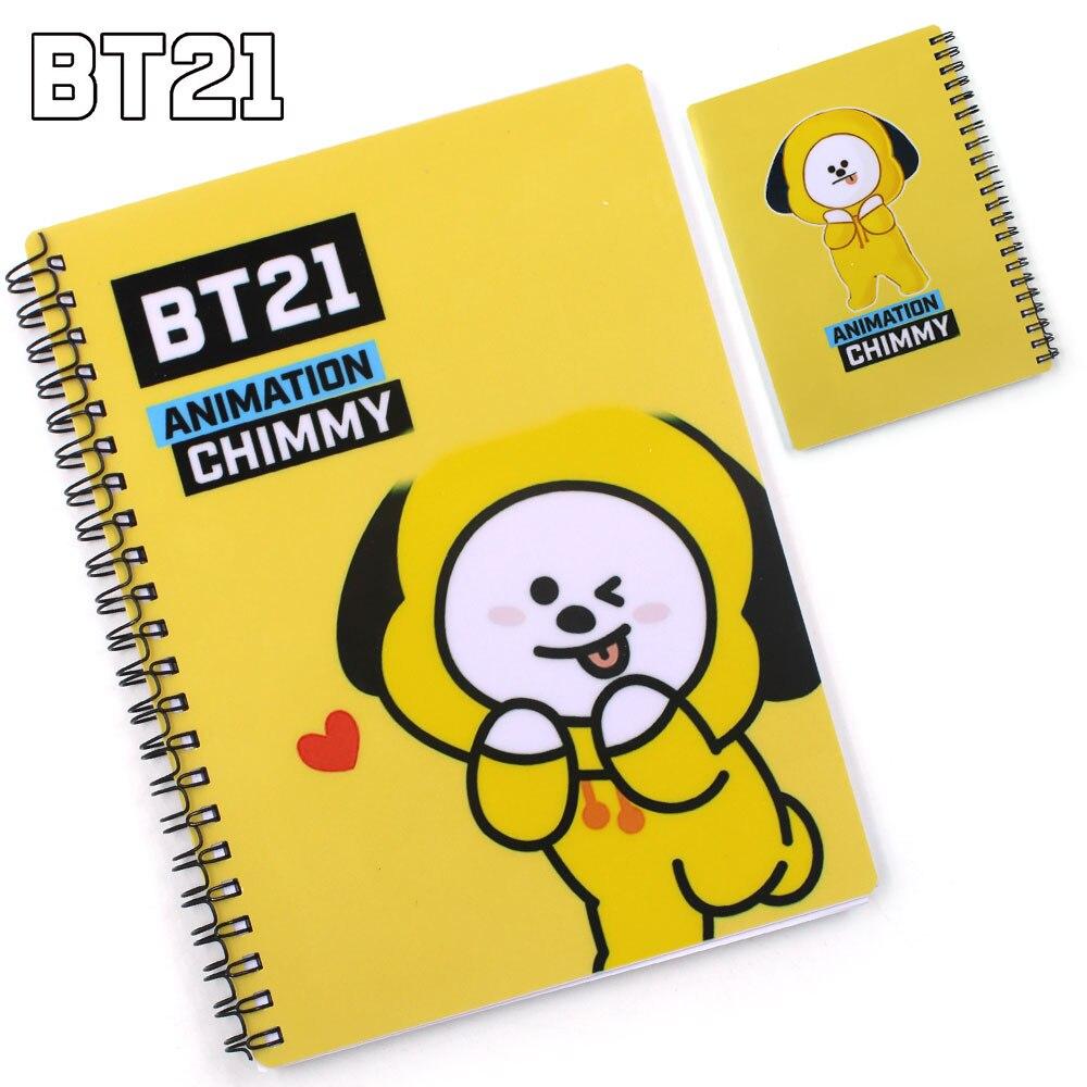 Kpop BTS BT21 VAN MANG CHIMMY TATA RJ KOYA ESTREMECIDO Notebook COOKY Diário Memo Livro Papelaria Estudo Log Trabalho EXÉRCITO presente DIY