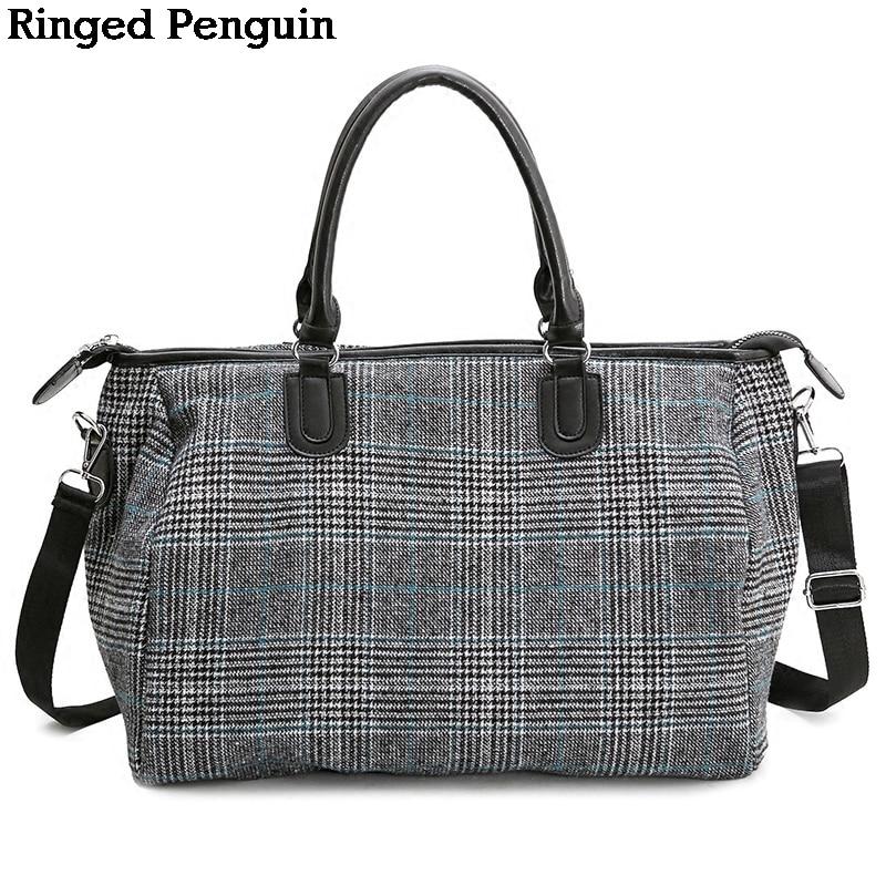 Ringed Penguin Women Travel Bags Tote Shoulder Travel Bag Portable Large Capacity Handbags Big Weekend Bag Women Duffle Bag ...
