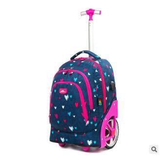 Trolley Rugzakken Tassen Voor Tieners 18 Inch School Wielen Rugzak Voor Meisjes Rugzak Op Wielen Kinderen Bagage Rolling Tassen - 4