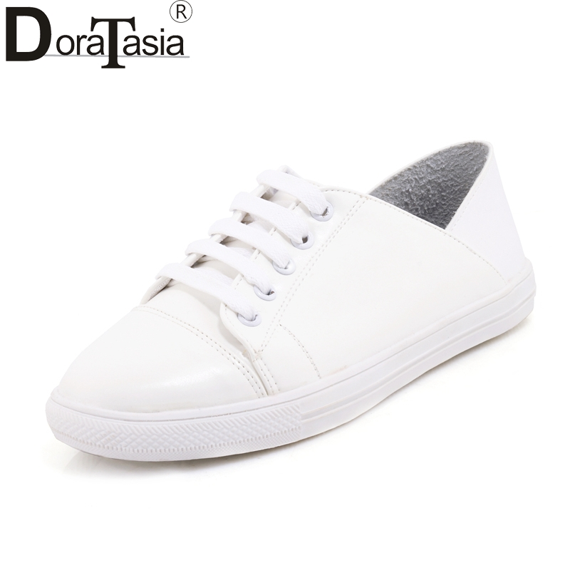 DoraTasia 2018 Summer Fashion Fresh Lace Up Flat Plus Size 29-46 Sneakers Women Foldable Post Trample Platform Shoes Woman