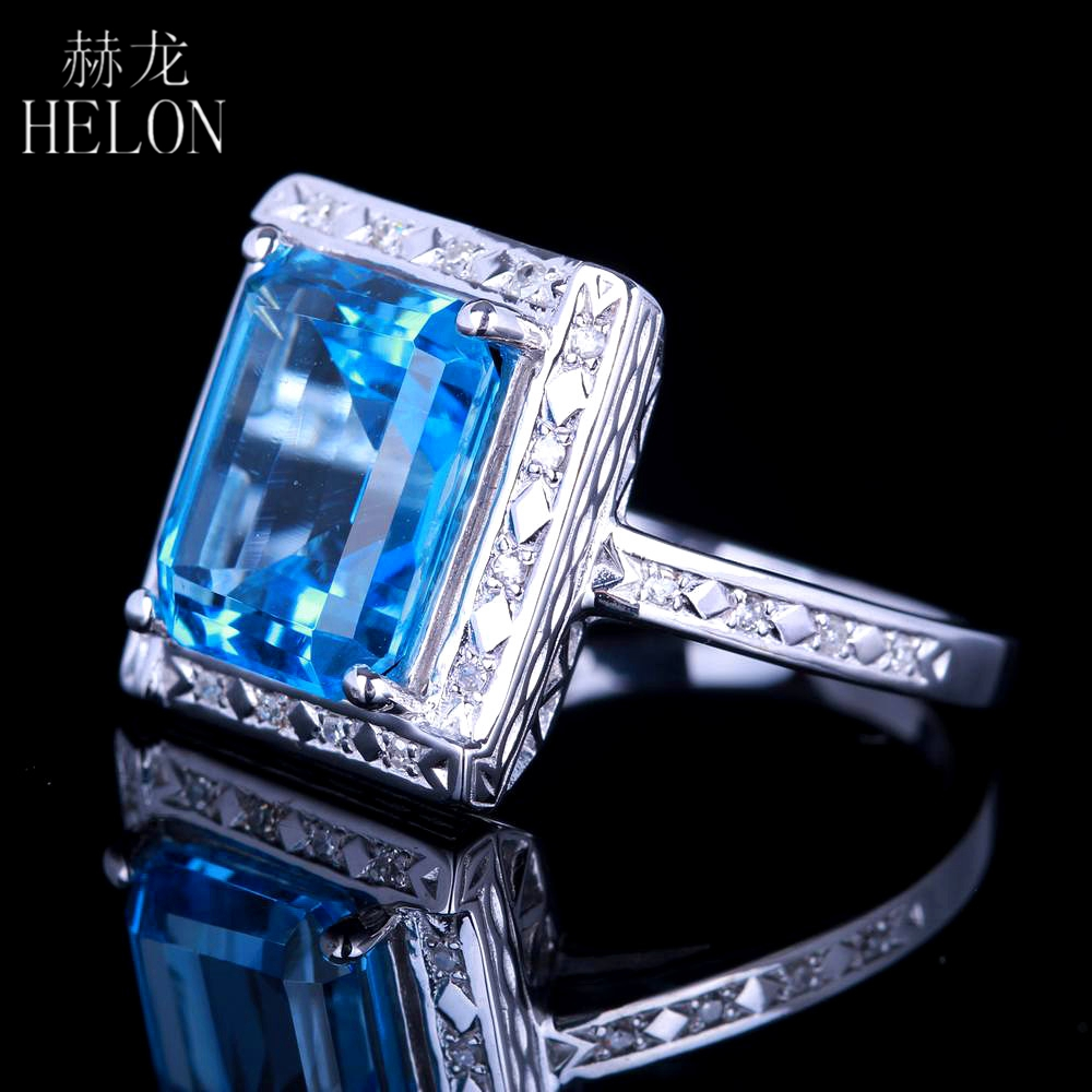 HELON Sterling silver 925 Flawless 11x9mm Emerald Cut 4.36ct Real Blue Topaz Natural Diamond Engagment Wedding Ring Fine Jewelry helon sterling silver 925 flawless 11x9mm emerald cut 4 36ct real blue topaz natural diamond engagment wedding ring fine jewelry