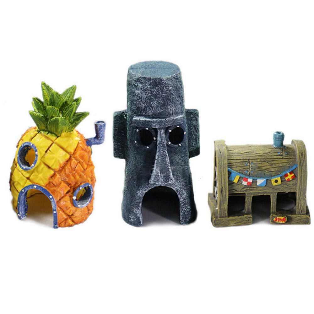 Resin Dekorasi Akuarium Untuk Spongebob Squidward Rumah Nanas Krusty Krab Kartun Ornamen Rumah Tangki Ikan Akuarium Dekorasi Aliexpress