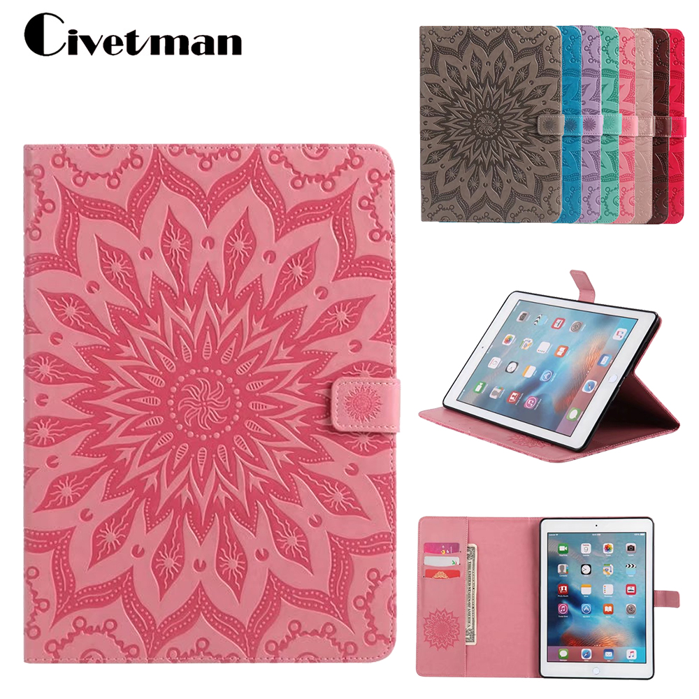 Embossed For Apple Ipad pro 9.7 Case Anti Dust Magnetic PU Leather Flip Cover Card Holder Tablet Cover Cases For Ipad Pro 9.7 nice soft silicone back magnetic smart pu leather case for apple 2017 ipad air 1 cover new slim thin flip tpu protective case