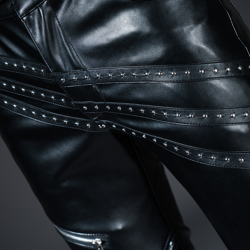 New Winter Spring Men's Skinny Leather Pants Fashion Faux Leather Trousers For Male Trouser Stage Club Wear Biker Pants 33
