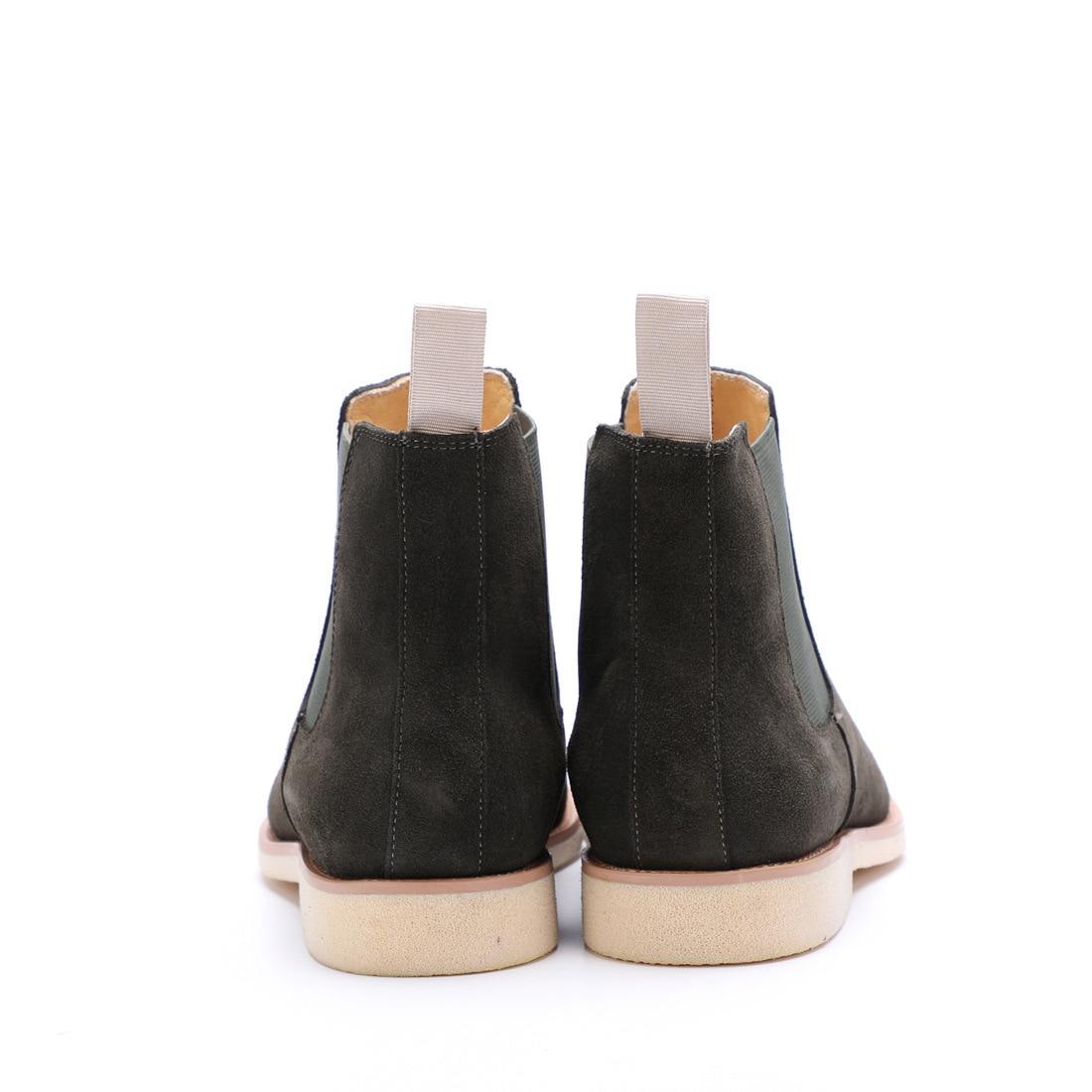 QYFCIOUFU 2019 NIEUWE Mannen Chelsea Laarzen Mode Suède Enkellaarsjes Mode mannen Merk Echt Lederen Slip Ons Man Werk laarzen Schoenen - 5