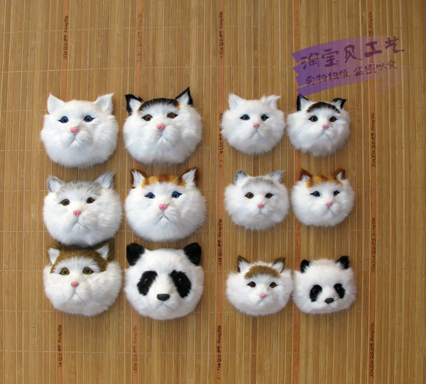 Simulation Cat Head Home Wall Decoration Panda Hair Bands DIY Craft Kids Room Door Decor In Figurines Miniatures From Garden On