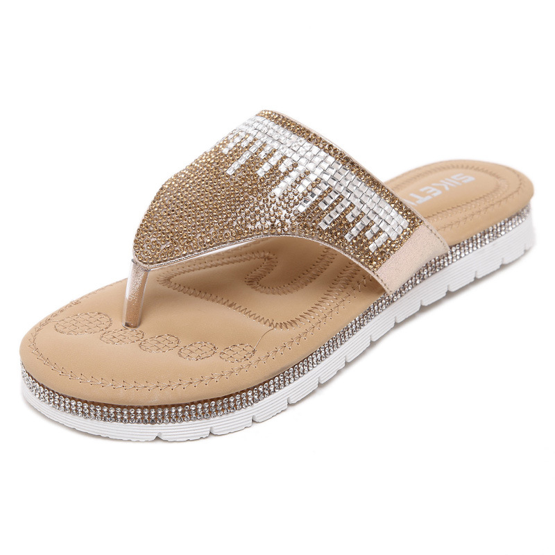 fb7b93f40108d Gold silver woman flip flops clip toe sandals rhinestone floral slippers  ladies beach sandals cut out sandalias mujer 2016design-in Slippers from  Shoes on ...