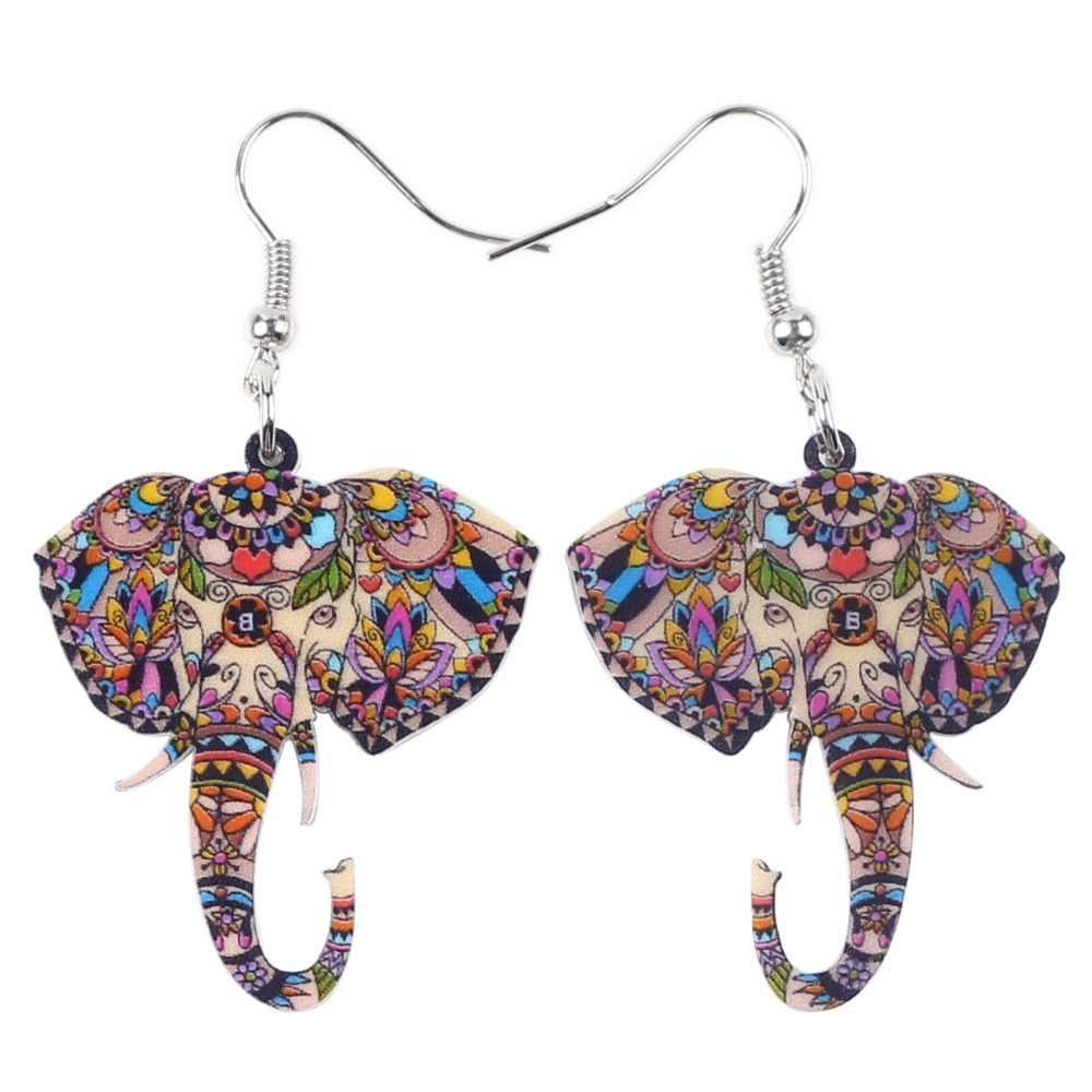 Bonsny Erklärung Acryl Niedlichen Elefanten Ohrringe Tropfen Baumeln Big Neuheit Tier Schmuck Für Mädchen Frauen Geschenk Party Dekoration Neue