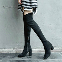 Woman Thick High Heel Side Zipper Suede Over The Knee Stretch Boots Fashion S Toe Thigh