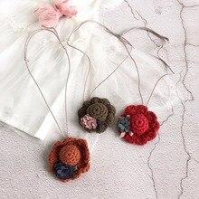 Korea Handmade Cute Woolen thread Cartoon Hats Flower Kids Children Girls Necklaces Apparel Accessories Gifts-SWCGNL103F