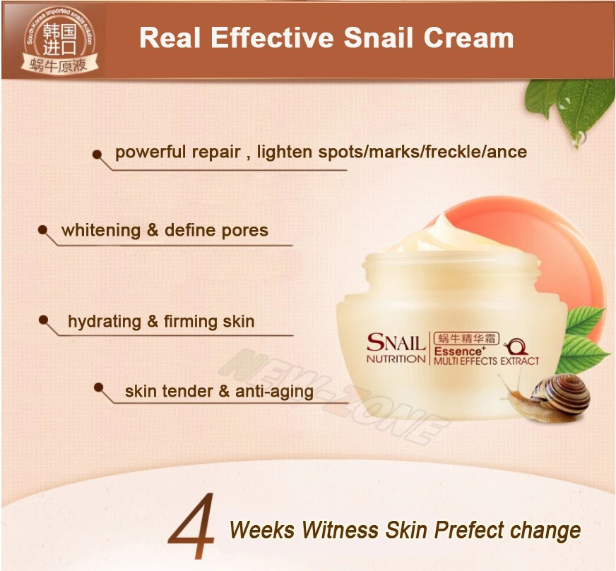 Powerful Multi Effect Snail Essence Cream Collagen Eliminates wrinkles Remove Acne Scar Whitening Anti aging Face Care Day Cream 4