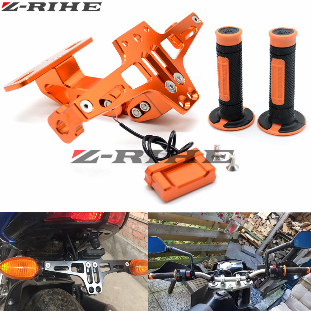 Motorcycle LED License Plate Bracket Holder and Hand Grips Handle Rubber Bar Gel Grip for KTM Duke 125 200 390 690 990 Motocross kemimoto for ktm duke 125 200 390 2011 2015 motorcycle handlebar drag bar clamp gel grips mount risers kit