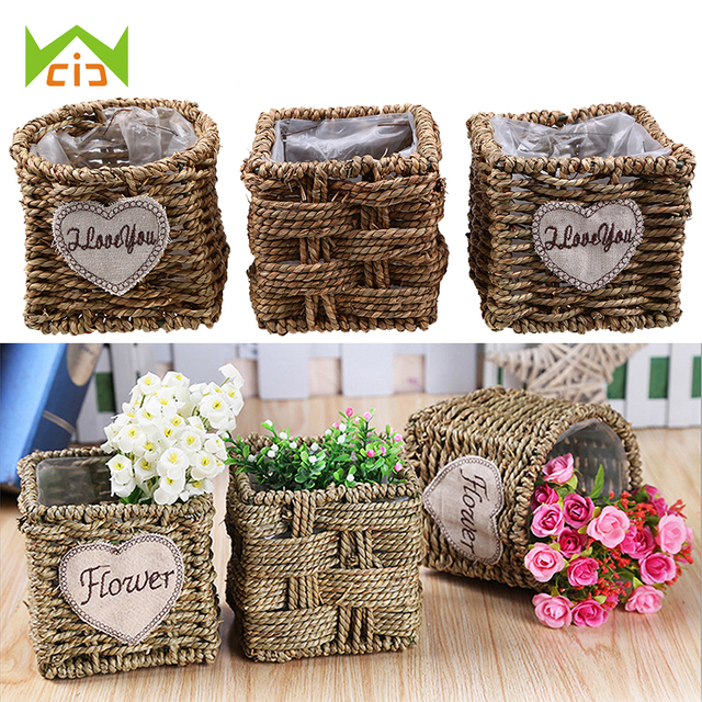office planter boxes. WCIC Flower Planter Garden Pot Home Office Flowers Box Decor Vase Straw  Artificial Silk Wicker Wedding Office Planter Boxes F