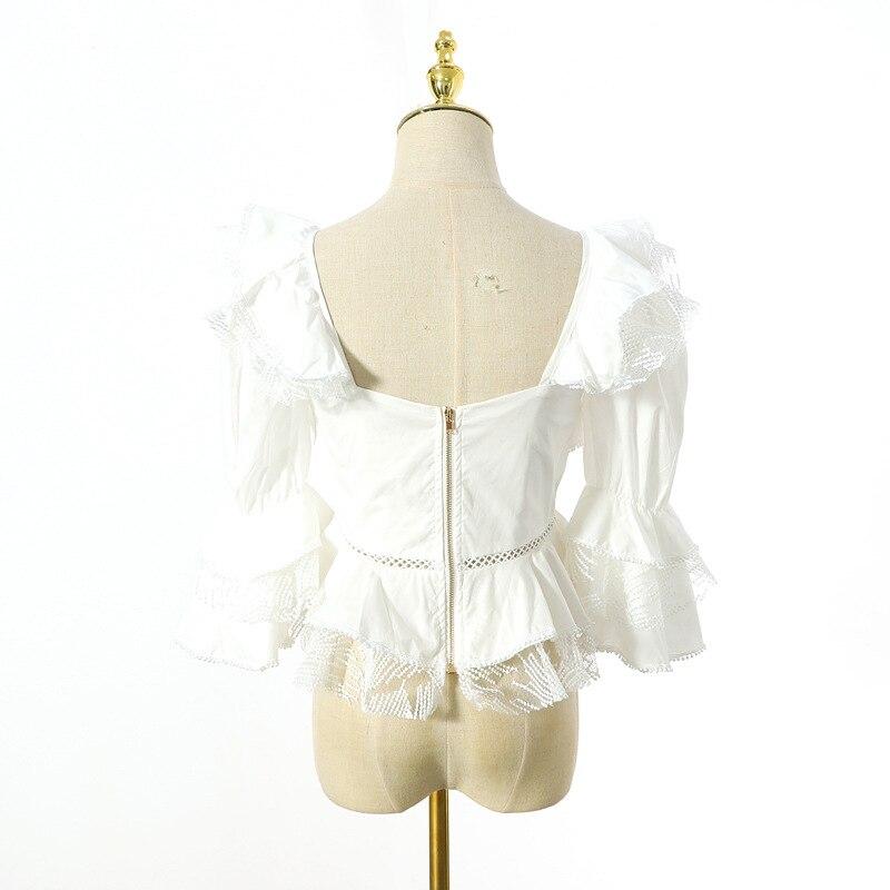 Bretelles Sexy Blouse femmes dentelle volants Patchwork manches bouffantes évider chemise été blanc haut décontracté - 5
