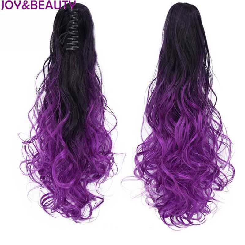 """JOY&BEAUTY 20"""" Long Curly Synthetic Hair Ponytail High Temperature Fiber 120g Ombre Color Clip On Hair Extensions Ponytails"""