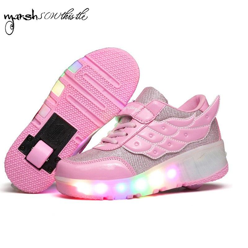 Roues chaussures rouleau shates chaussures lumineux sneaker kid garçon fille invisible automatique poulie unique/double roues petite aile chaussures