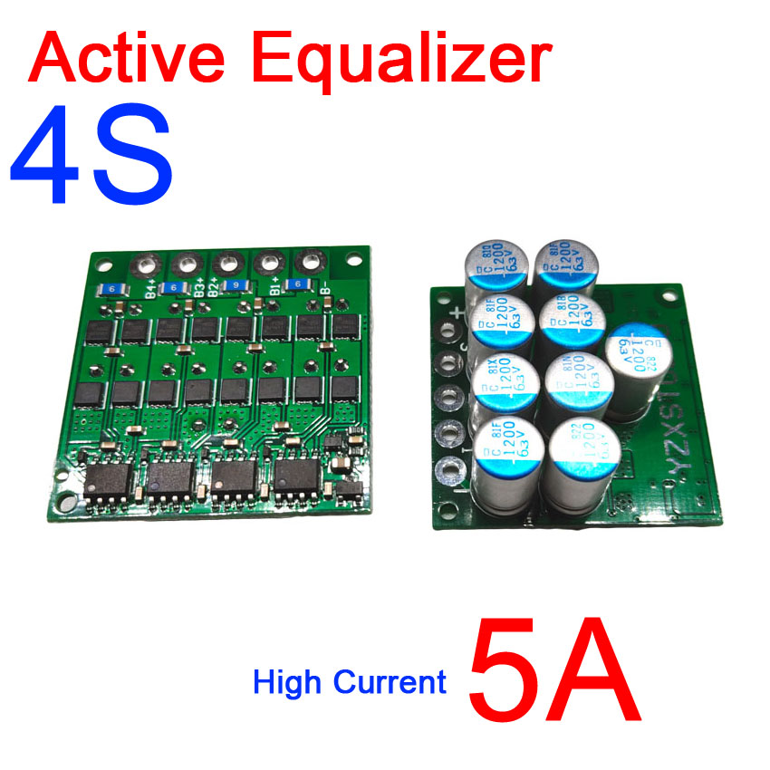 3S 4S 12V Li ion Lifepo4 Lithium battery Active Equalizer protection board 5A current Equivalent parallel Balance 3.2V 3.7V-in Battery Accessories from Consumer Electronics