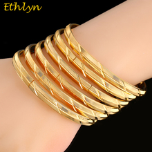 Ethlyn 6Piece/Lot Malian Wedding Yellow Gold Color Openable Charm Bangles For African Women  Jewelry Luxury Bangles B041