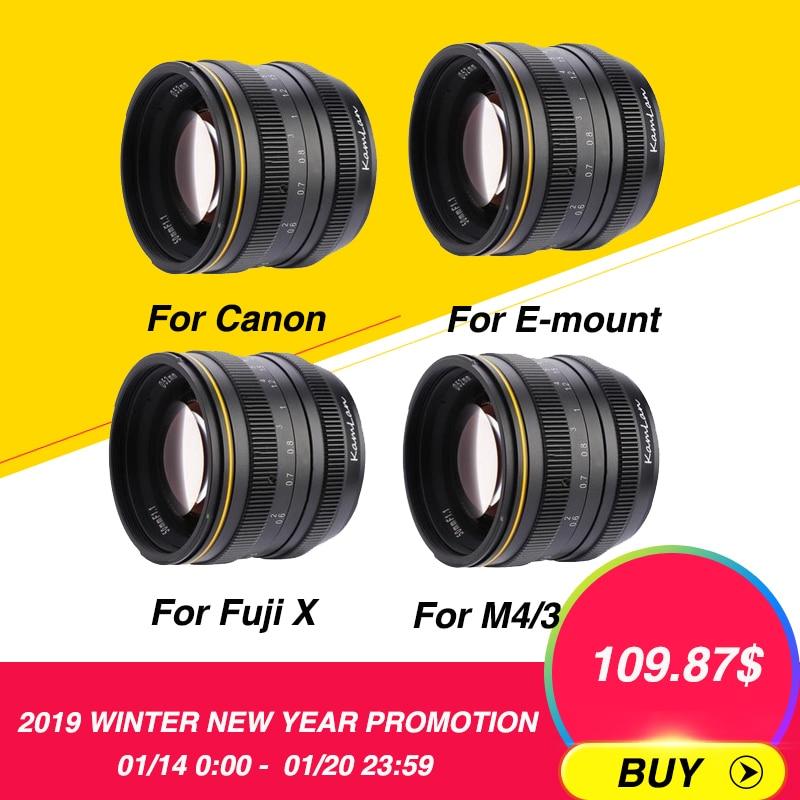 Kamlan 50 мм f1.1 APS-C большой апертурой ручная фокусировка объектива Для беззеркальных камер для Canon EOS-M/sony E-mount/Fuji X для M4/3