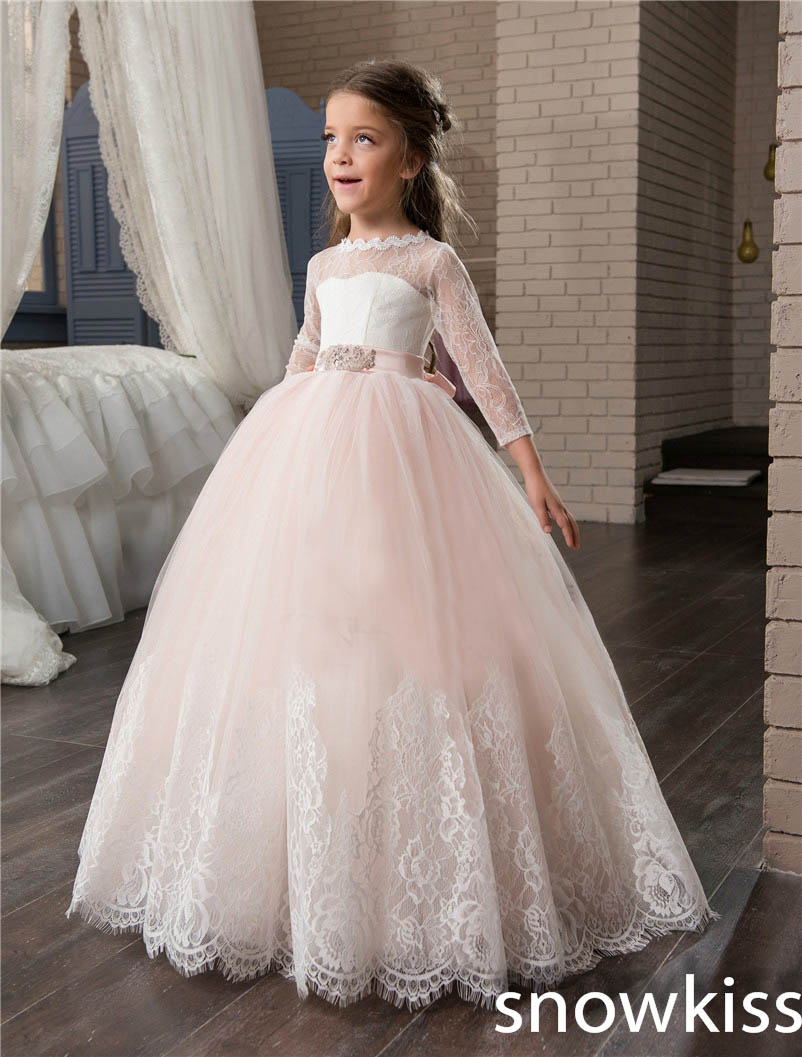 2017 blush pink communion dresses flower girl dress for wedding with lace appliques Three Wuarter tulle toddler pageant gowns light peach allover lace three fourth sleeves dress pink