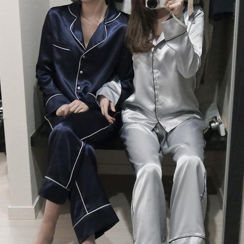 2016 Mujeres de Seda Del Satén Pijamas Camisones ropa de Noche Ocasional Largo de La Manga S, M, L Pantalones Largos Ropa de Dormir Pijamas Conjuntos
