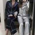 2016 Mulheres de Seda de Cetim Conjuntos de Pijama Sleepwear Casuais Camisolas De Manga Longa S, M, L Calças Compridas Sleepwear Conjuntos de Pijama