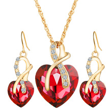 UFOORO New!Gold-color Red CZ Crystal Heart Pandant Chain Necklace+Earrings Jewellery Set For Women Bridal Wedding Accessories