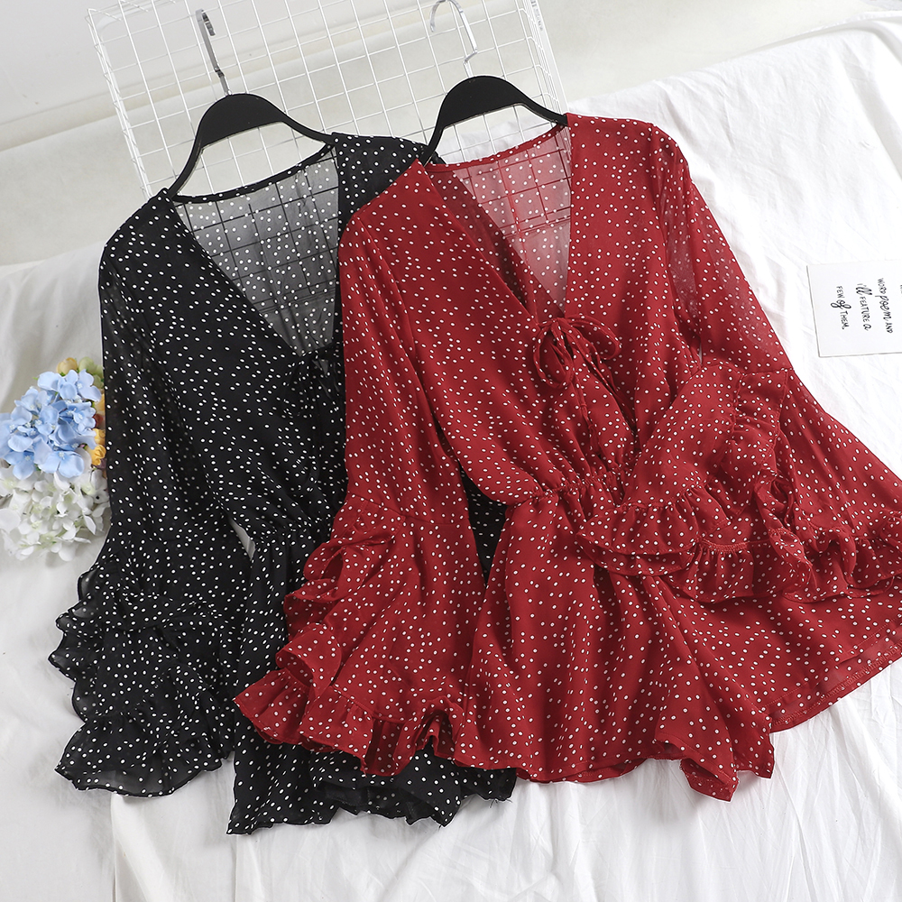 Women V-Neck Flare Sleeve Polka Dot Rompers Jumpsuits Casual Bohemian Slim High Waist Lace Up Bandage Ruffles Chiffon Playsuits