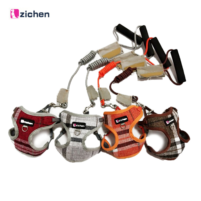 Zichen Pet Dog Harness Leash Adjust Cowboy Fiber Cotton Cloth Canvas Nickel Buckle Dog Harness Vest Double Reinforcement 6 Color