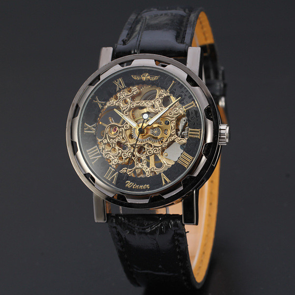 Classic Men's Clock Black Faux Leather Watch Hollow Steel Dial Skeleton Mechanical Sport Army Wrist Watches Relogio Masculino