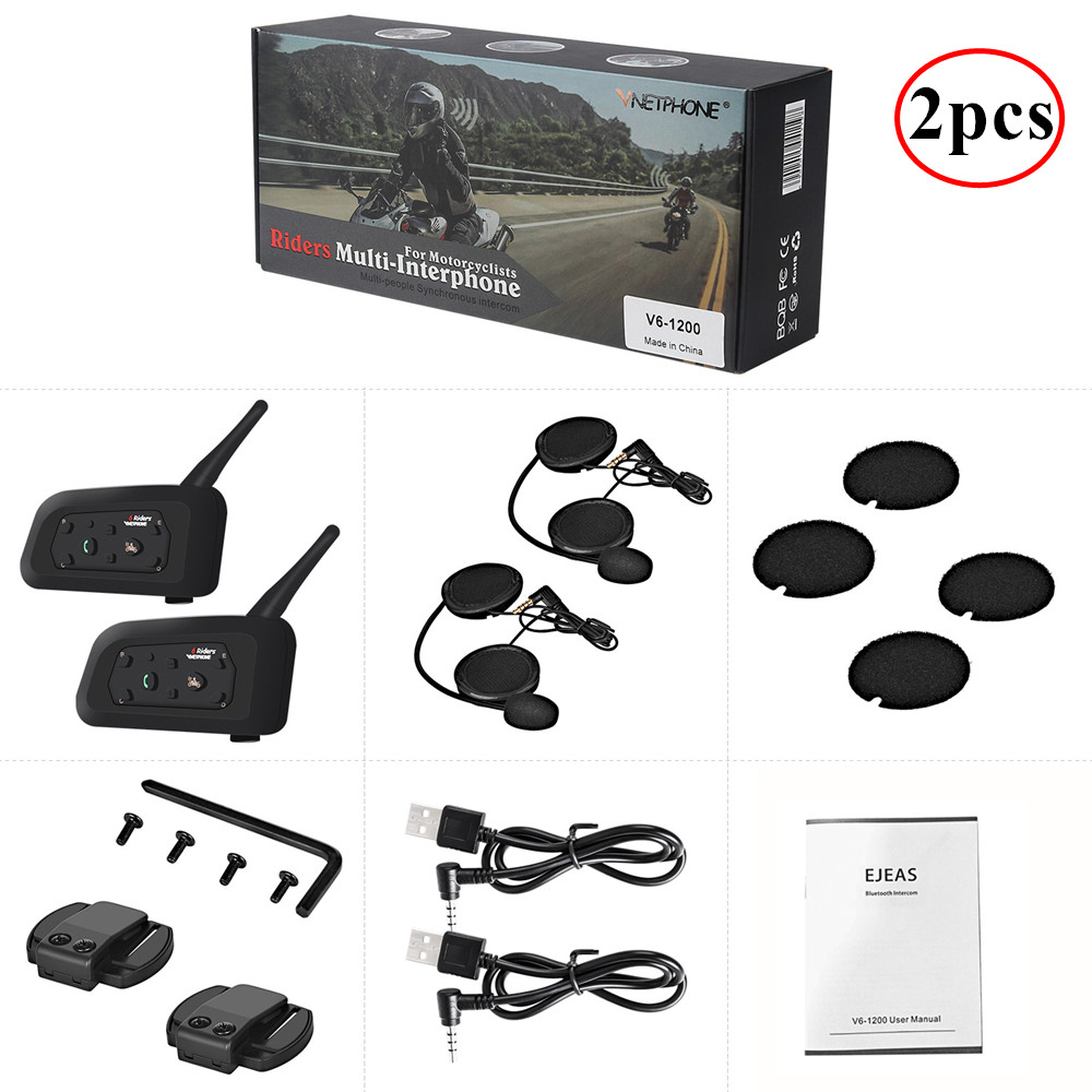 2 pièces 1200M Interphone De Casque De Moto Sans Fil Casques Bluetooth Interphone Pour 6 Coureurs Intercomunicador Moto Casque Casque