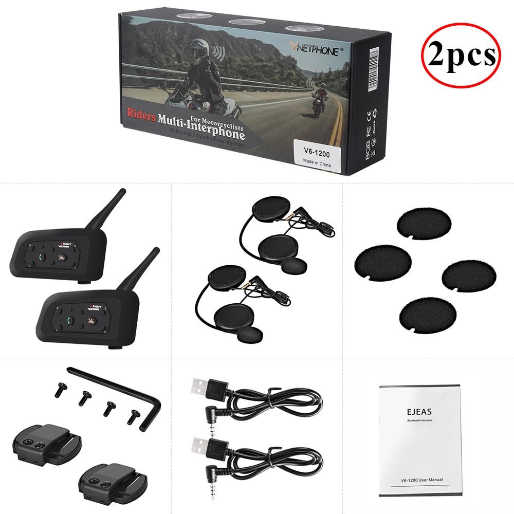 2PCS 1200M Wireless Motorcycle Helmet Intercom Bluetooth Headsets Interphone For 6 Riders Intercomunicador Moto Helmet Headset
