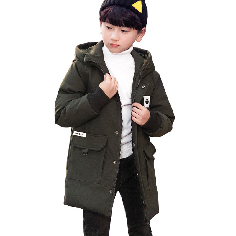Boys Coat Winter 2018 New Children's Cotton Jacket Medium Long Down Coat Thick Warm Hooded Boys Clothing BC385