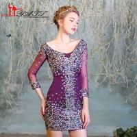 LIYATT 2017 Hot Sale V neck Purple Crystal Short Mini Sexy Cheap Cute Homecoming Dresses Girls Gown Real Photo