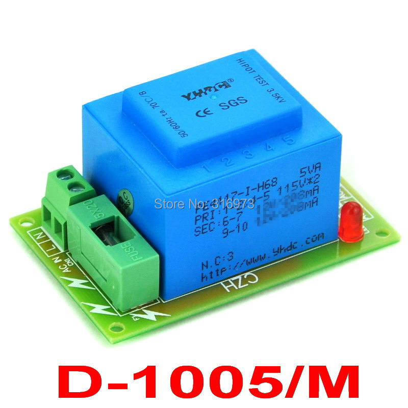 Primary 230VAC, Secondary 24VAC, 5VA Power Transformer Module, D-1005/M, AC24V
