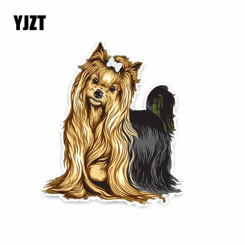 YJZT 11.5*13.2CM Yorkshire Terrier Breed Dog Car Decoration Bumper Window Sticker C1-4270