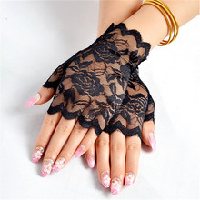Floral Lace Fingerless Gloves Women Sheer Black Rose Gloves