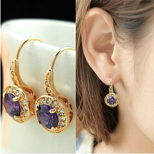 MOONROCY Purple Crystal Dangle Earrings Cubic Zirconia Yellow Trenday Jewelry Wholesale Rose Gold Color for Women Girls Gift yoursfs dangle earrings with long chain austria crystal jewelry gift 18k rose gold plated