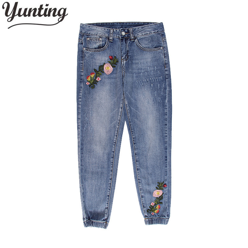 Flower embroidery jeans women Vintage Ripped pants Pockets straight jeans female bottom Plus size women Denim trousers flower embroidery jeans female blue casual pants capris 2017 spring summer pockets straight jeans women bottom a46