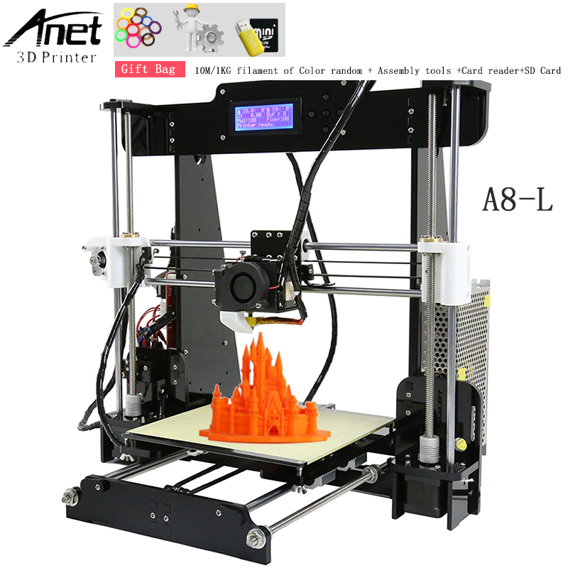 Hot Sale Anet A8 & Auto A8 3d printer High Quality Reprap DIY Assembly 3D Printer Kit With Free Gift 1Roll Filament 8GB SD Card