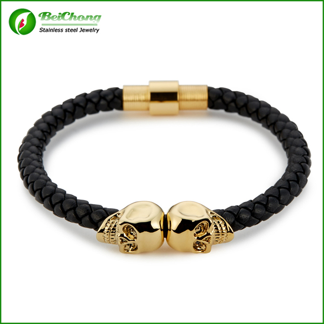 Fashion Men Leather Northskull Jewelry Black Genuine Leather Gold Plated Stainless Steel Double North Skull Bracelet Bangles